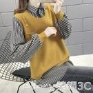 假兩件針織上衣 時尚襯衫假兩件套毛衣女2021秋冬季新款外穿百搭超火針織上衣 榮耀