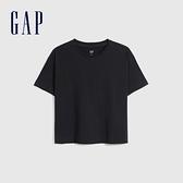 Gap女裝 碳素軟磨系列厚磅密織 基本款素色短袖T恤 735767-黑色