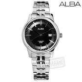 ALBA / VJ22-X257D.AH7N67X1 / 日期顯示藍寶石水晶玻璃防水不鏽鋼手錶 銀黑色 28mm