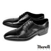 【Marelli】Cap Toes橫飾手工德比鞋 黑色(1504-BL)