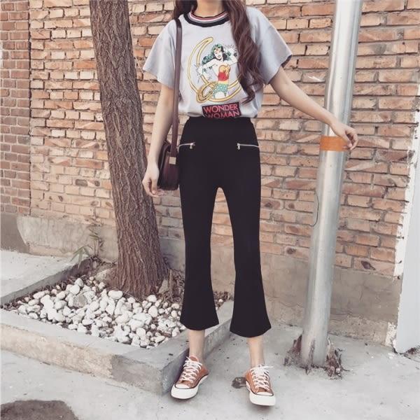【GZ11】西裝褲 韓版微喇叭褲 九分褲 高腰黑色闊腿褲 百搭女褲