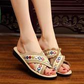 新款夏時尚外穿拖鞋女民族風女拖鞋網紅平底涼拖鞋防滑沙灘鞋
