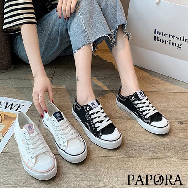 PAPORA線條圍邊休閒帆布平底鞋KXF20白藍/白粉/黑