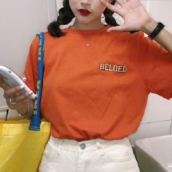 梨卡★現貨 - 青春活力個性字母百搭寬鬆短袖上衣T恤/3色BR203