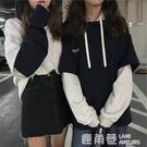 秋冬季韓版新款原宿風bf情侶閨蜜裝假兩件連帽T恤女網紅同款上衣外套『快速出貨』