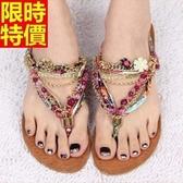 涼鞋-平底精緻水鑽波西米亞風裝飾夾腳女休閒鞋2色67d7【巴黎精品】