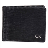CK經典CK大容量雙折黑色皮夾