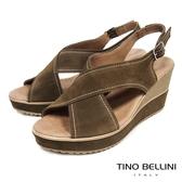 Tino Bellini 西班牙進口寬帶交叉魚口楔型涼鞋 _ 棕綠 A83026A 歐洲進口款