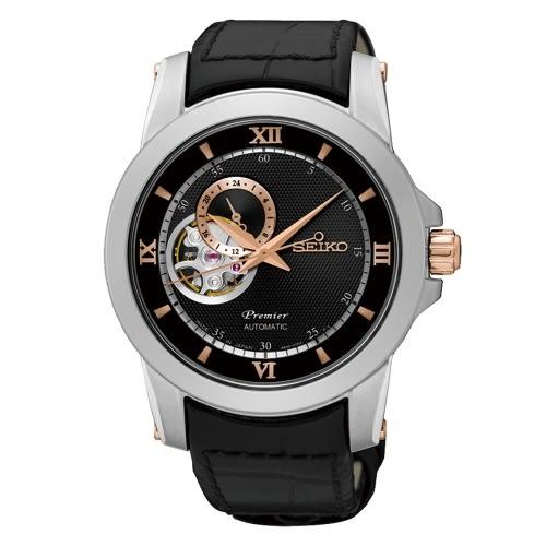 SEIKO Premier 典藏風格鏤空設計機械腕錶/黑x皮帶/4R39-00P0C