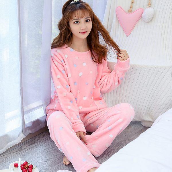 秋冬珊瑚絨睡衣兩件套女冬季長袖保暖加厚加絨甜美可愛法蘭絨家居服套裝