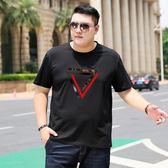 男短袖t恤 薄款彈力純棉半袖加肥加大碼圓領寬鬆胖子青少年體恤衫『摩登大道』