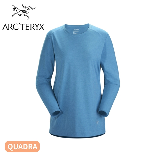 【ARC'TERYX 始祖鳥 女 Quadra快乾長袖圓領衫《倒影雜藍》】26833/長袖排汗衫/登山衣