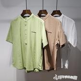 夏季棉麻襯衫男七分袖條紋刺繡中袖棉麻襯衣麻料上衣男士寸衫8801 Cocoa