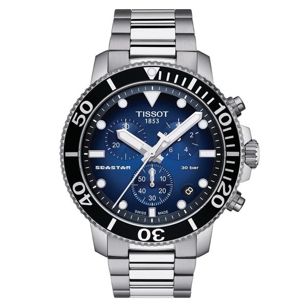 TISSOT天梭Seastar1000海洋之星300m潛水計時錶(T1204171104101 )漸層藍/鋼帶/45mm