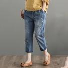 刺繡哈倫褲牛仔褲八分褲5段尺寸【75-17-83331-20】ibella 艾貝拉