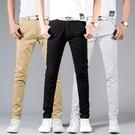 夏季薄款男士休閒褲男青年修身韓版小腳褲黑色直筒商務外穿男褲潮 依凡卡時尚