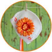 針織帽花園系列: 橘色白底: LT-GG-04