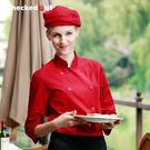 酒店服裝女款制服中袖廚師服 餐飲快餐廳工...