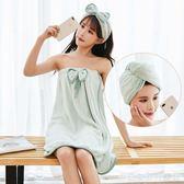 性感可穿式浴巾女比純棉柔軟成人家用可裹百變懶人浴裙可愛韓版厚  居家物語