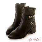 amai 金屬五角釦繞踝皮帶粗跟中筒靴 ...