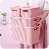 編織收納筐帶蓋衣服收納盒塑料小號迷你可愛玩具零食儲物箱整理箱 LP