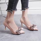 高跟鞋秋季甜美蝴蝶結尖頭單鞋中跟仙女百搭鞋子細跟 蘿莉小腳ㄚ