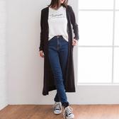 東京著衣-夢展望-V領羅紋針織長版外套-M(4190003)