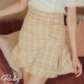 褲裙 抓皺魚尾格紋褲裙-Ruby s 露比午茶