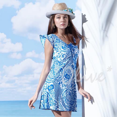 ☆小薇的店☆MIT聖手品牌亮眼民俗風時尚連身裙泳裝特價1580元 NO.A98626(M-4L)