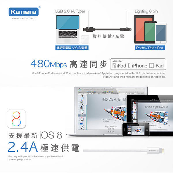 放肆購《最夯下殺》MFI 蘋果原廠認證 2.4A AP100 充電傳輸線 iPhone7 iPhone6 plus i7 i7+ i6 i6+ 6s SE iPhone5 i5
