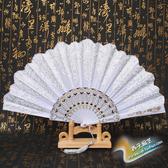 折扇 易開合七朵詠春扇子女折扇雙層蕾絲綢中國風舞蹈跳舞白色玫瑰【免運】