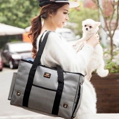 寵物包-個性條紋簡約便攜型貓狗肩背寵物外出提籠69b8[時尚巴黎]