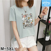 【V9351】shiny藍格子-可愛時尚.小鹿小鳥字母印花圓領短袖上衣