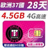 【TPHONE上網專家】歐洲 37國 28天無限上網 前面 4.5GB 支援高速 贈送通話60分鐘