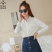 襯衫--專業自信經典百搭款OL首選指標素面白色長袖襯衫(白XL-5L)-I174眼圈熊中大尺碼◎