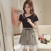 兩件套裝 春夏季新款韓版時尚短袖T恤兩件套小香風格子闊腿短褲套裝女 雙十二全館免運