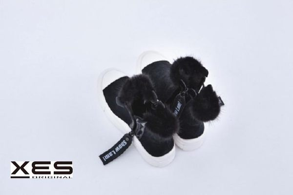 XES帥氣帆布皮靴  黑色
