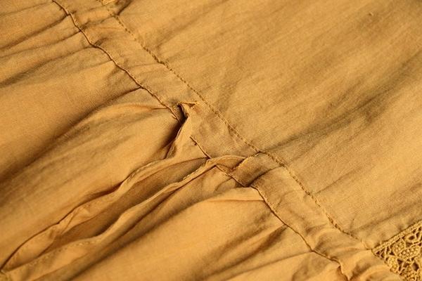 東京奈奈日系森林系棉麻蕾絲短袖收腰洋裝[j72816]