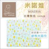 ✿蟲寶寶✿【米諾娃MINERVA】台灣製造 100%純棉 透氣舒爽 紗布大浴巾 貓頭鷹 藍色