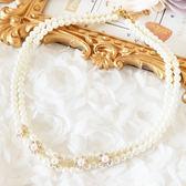 奢華珍珠水鑽花朵項鍊~服飾搭配~美之札