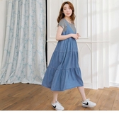 《MA0303-》高含棉大V丹寧背心多層次蛋糕裙/孕婦洋裝 OB嚴選