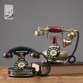 歐式客廳家居復古創意樹脂工藝品電話機模型裝飾禮品擺件LK1584『伊人雅舍』
