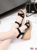 貝貝居 楔型涼鞋 坡跟涼鞋 厚底 鬆糕鞋 百搭 防水臺 高跟女鞋
