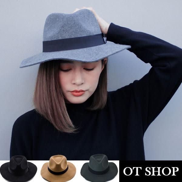 OT SHOP帽子‧簡約素色純羊毛呢‧紳士帽禮帽爵士帽‧韓星必備氣質顯小臉時尚配件‧現貨3色‧C1736