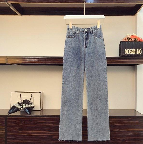 套裝V領上衣牛仔褲L-4XL中大尺碼洋氣雪紡衫闊腿牛仔褲兩件套4F082.8817胖胖唯依