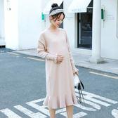 孕婦洋裝 好康推薦時尚新款孕婦秋冬裝洋裝中長款正韓毛衣潮媽寬鬆針織打底裙 果寶時尚