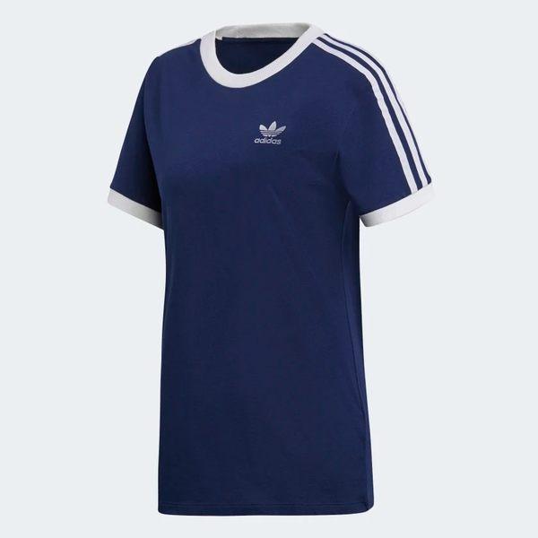 ADIDAS ORIGINALS 3-STRIPES 女裝 短袖 休閒 慢跑 舒適 基本款 深藍【運動世界】DV2592