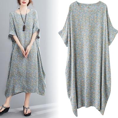涼感洋裝連身裙2216#復古文藝棉質連身裙小清碎花大碼裙子MB151-A.依品國際