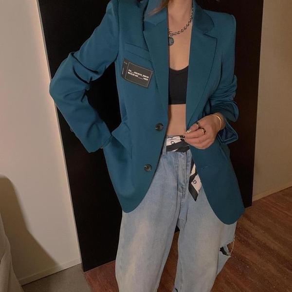 限時特銷 優質秋季新款韓版湖藍色單排扣寬松簡約時尚直角肩個性西裝外套女