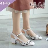 大尺碼女鞋-凱莉密碼-氣質小圓楦鏤空軟皮中粗跟包腳涼鞋5.5cm(41-46)【BB28-10】白色